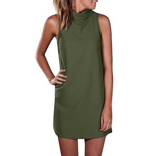 Damen High Neck Bluse Tops Sommer Abend Party Minikleid A-Linie Rock ist Einfach und Bequem Elegant Kleider Rundhals Stretch Basic Kleider