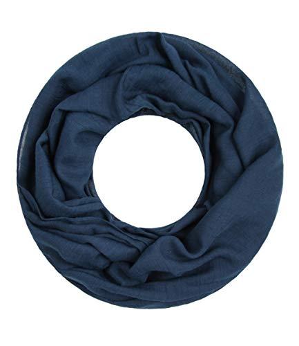 Majea Loop Cary Basic Schal Tuch Damen-schal Schlauchschal Rundschal Halstücher uni unifarben Loopschal einfarbig (navy 1) -