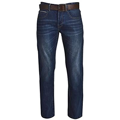 Firetrap Mens Leather Belt Straight Jeans Pants Trousers Bottoms Denims