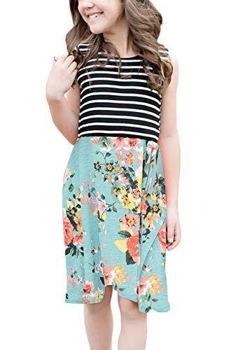 estreiftes Sommerkleid mit Blumen Gemustert Kinder Midi Kleider Green M ()