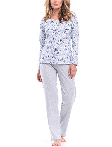 Dn-Nightwear PB.8052 Confortable Joli Pyjama,Manches Longues,Pantalon Long – Fabriqué En UE Gris