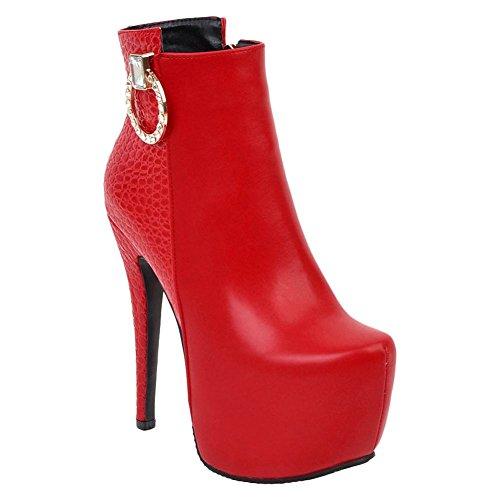 MissSaSa Damen High Heel Plateau Stiefeletten Stiletto Ankle-Boots mit Strass (42, Schwarz)