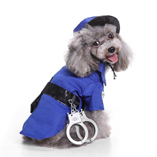 Kostüm Polizei Gefangener - smalllee Lucky Store Polizei Hund Pet Kostüm Weihnachten Funny Pet Hund Katze Kleidung Cool Polizist Uniform Outfit Overall mit Mütze