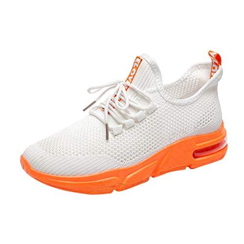 Saihui Sneakers Damen Netz Gym Atmungsaktiv Schuhe Strick Laufschuhe Trainer Sneake Sportschuhe Rutschfeste Straßenlaufschuhe (EU:39, Weiß)