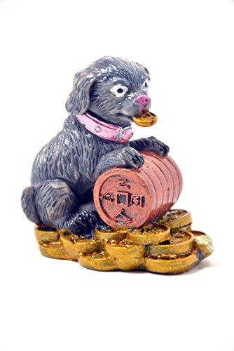2018chino año de perro chino horóscopo del zodiaco color gris hecha a mano de resina perro con moneda coleccionable estatua figura Escultura
