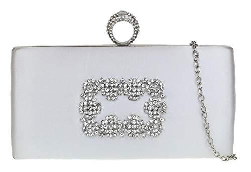 Diamante Compact (Girly HandBags Frauen Diamante Compact Clutch-Bag Kleine weißeWeiß)