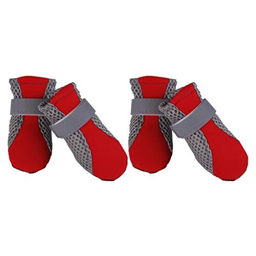 F Fityle Zapatos/Botas Impermeables para Perros, Protectores contra Patas con Suela Antideslizante Ajustable - L Rojo