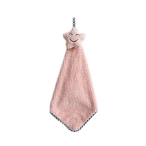 WEISY Weiches Tuch-Küchen-Badezimmer-hängende Handtücher, saugfähiges handtrockenes Tuch Nettes sternförmiges hängendes Geschirrtuch mit Krawatte (Geschirrtuch Hängende)