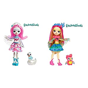 Enchantimals Muñeca con Mascota Saffi Swan (Mattel FRH38) + Muñeca con Mascota Peeki Parrot (Mattel FJJ21)