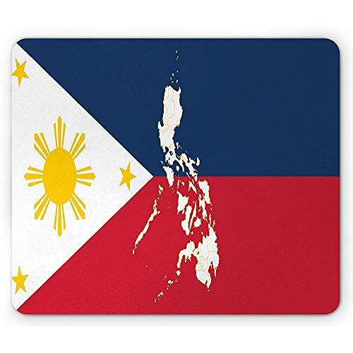 Philippinische Mausunterlage, Karten-Flagge der Philippinen-Land-Kultur-Geografie-Thema-Illustration, Mousepad Mausunterlage