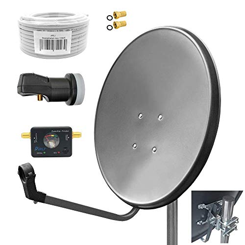 60cm HD Sat Anlage Single LNB + 10m Koaxialkabel 135dB + Satfinder + 2 F-Stecker Digital 1 Teilnehmer Antenne Grau UHD 4K Hd-single
