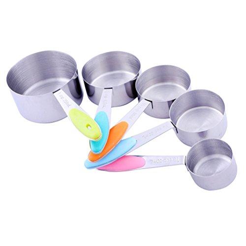 Vicloon Set da 5 Tazze di Misurino in Acciaio Inox, Misurazione per Cibi Ingredienti, Utensile Domestico da Cucina