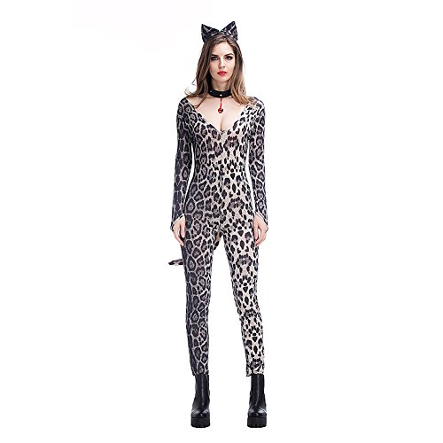 Feicuan Sex Kitten Damen Karneval Kostüm Leopard Print Jumpsuit Halloween Bodysuit Night Club Cosplay Party (Katze Halloween Kostüm Bodysuit)
