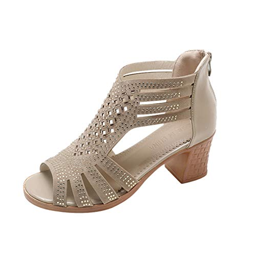Dorical Damenschuhe Sandalen & Sandaletten Damen Sommer High Heel Sandaletten Peep Toe Kunstleder Blockabsatz Elegant Hochzeit Party Schuhe(Gold,36 EU)
