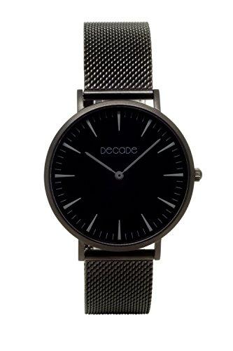 DECADE Herren Armbanduhr Schwarz, D102 decadewatch mit Leder oder Stahlarmband in verschiedenen Farben, Uhr