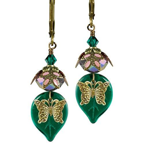 NoMonet Hand bemalte handwerkliche Ohrringe - Süßer Nektar in Gold, Dunkelgrün und Lavendel