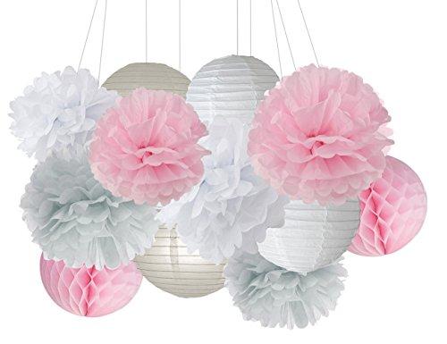furuix 15Stück rosa grau weiß Party Deko-Set Seidenpapier Pom Pom Honeycomb Ball für Bridal Dusche Mädchen Geburtstag Hochzeit Dekoration Rosa Baby Dusche Raum Dekoration Partyzubehör