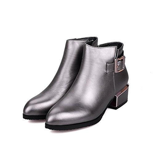 AgooLar Damen Rein Spitz Zehe Pu Leder Reißverschluss Stiefel mit Metall Schnalle Silber