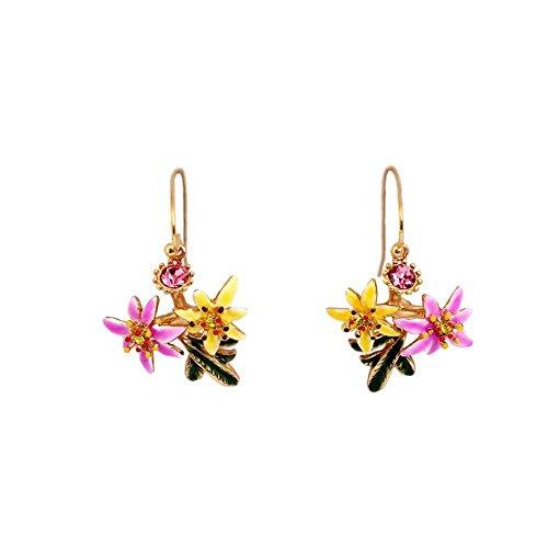 Lady Mosaik (JunBo Nationalen Wind Lily Floral Kristall Temperament Ohr Haken Lady Mosaik Stud)