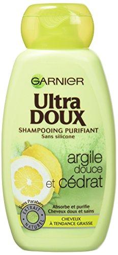 Garnier - Ultra DOUX Shampooing Purifiant pour Cheveux Gras Argile Douce/Cédrat 250 ml - Lot de 3