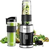 Smoothie Mixer, UPGRADED Willsence 700W Standmixer Smoothie Maker, Single Serve Mini Bullet Mixer mit 2 Tritan Sportflasche für Säfte, Shakes und Smoothies (Black)
