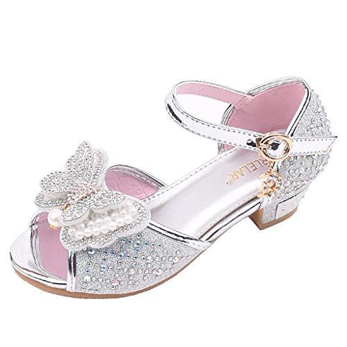 Scarpe bambina eleganti da cerimonia sandali bambine con tacco alto primavera scarpe con paillettes da ragazza scarpe bambino ballerine sandali bimba estive scarpe bambini principessa 4-12 anni
