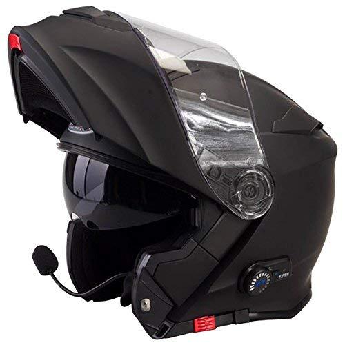 Casco modulare bluetooth Viper V171 Casco Moto Touring Apribile Bluetooth Integrato Casco - Colore: Nero Opaco XL