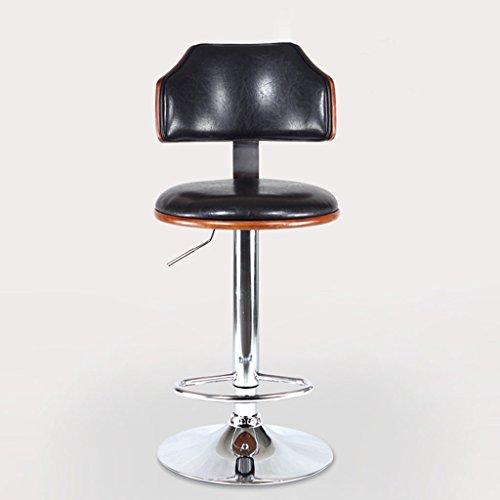 GJM Shop tabouret pivotant à 360 ° réglable en hau Noir Poignée En Métal Bois + Similicuir + Coussin Éponge Chaise De Bar Peut Soulever 20cm Rotation À 360 ° Tabouret Haut Pied De Galvanoplastie Mode Européenne Tabouret De Bar --- Sponge + Leatherette / surface de chaise en bo