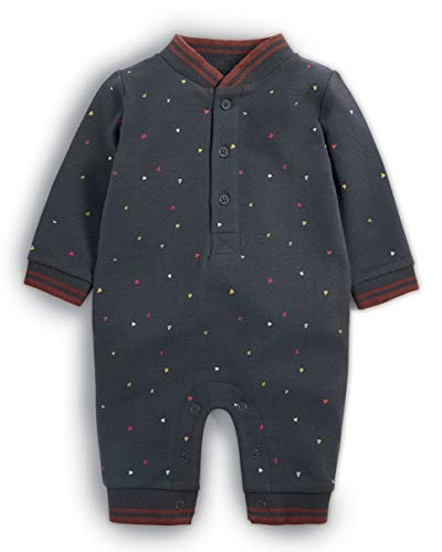 Mamas & Papas Baby-Jungen Spieler Triangle Print Romper, Grey (Charcoal SGT), 80