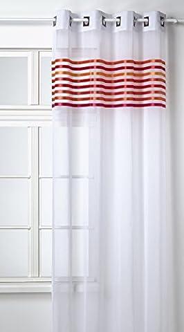 Homemaison Vorhang, Gardine, Etamin, gestreiftes Muster oben eingewebt (HM6913488) Mandarinenfarben