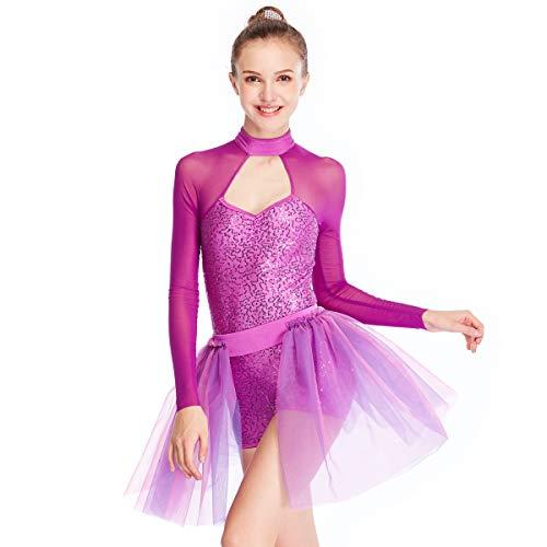 (MiDee 2 Stück Voller Pailletten Hohe Hals Lange Illusion Ärmel Ballett Tanz Kostüm Kleid (Magenta, MA))