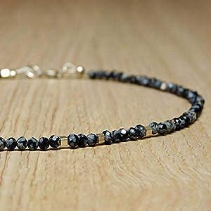 Edelstein-Kette, Schneeflocken-Obsidian mit Silber