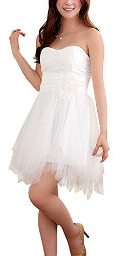 SMITHROAD Damen Kleid Cocktailkleid Knielang Bandeau mit Tüll Abendkleid Ballkleid mit Träger 3 Farben Gr.34-48 Weiß