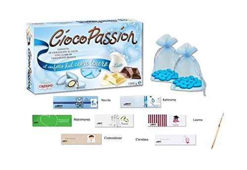 Ciocopassion latte celeste confetti 1 kg + 50 sacchetti organza + 50 bigliettini
