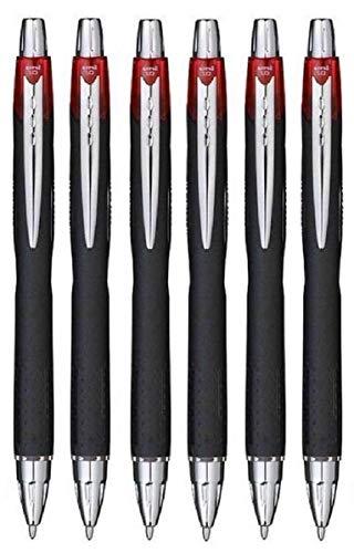 Ball mit einziehbarer Uni Rot Jetstream Breite Spitze Tintenroller Spitze 1mm und 0,45mm Line Breite Wasserdicht Zangen schnelltrocknend Pigment Tinte für eine Writes 12(6Stück) - Tinte Refill Schwarz Pigment