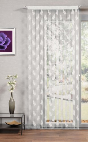 "\""Schmetterlinge\"" Fadengardine mit Schmetterlingsmuster. ([01] weiß, 225x95 cm)"
