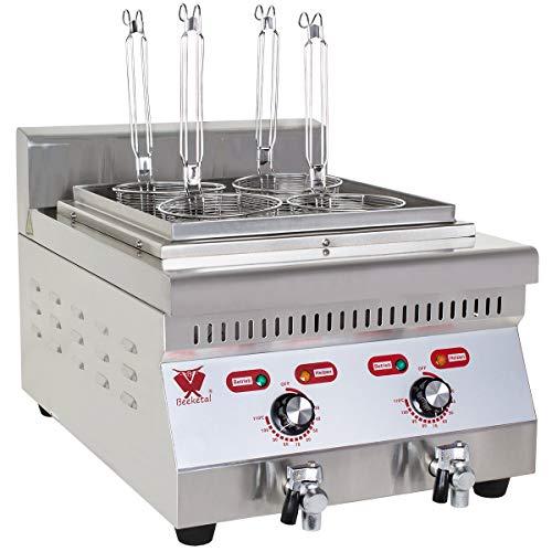 Beeketal 'BNK-4' Profi Gastro Nudelkocher mit 4 Kochkörben und 2 Kochbecken (einzeln regelbar 30-110 °C), elektrischer Pastakocher mit Edelstahl Gehäuse und 2 Ablaufhähnen