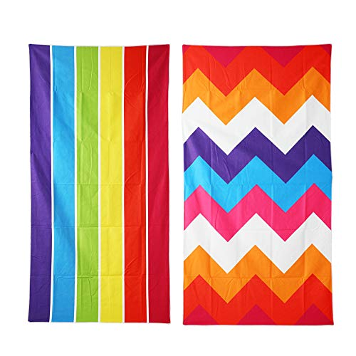 Winthome 2 Pack Microfiber Beach Towels Set- Lightweight Large Travel Towel (wide stripe)