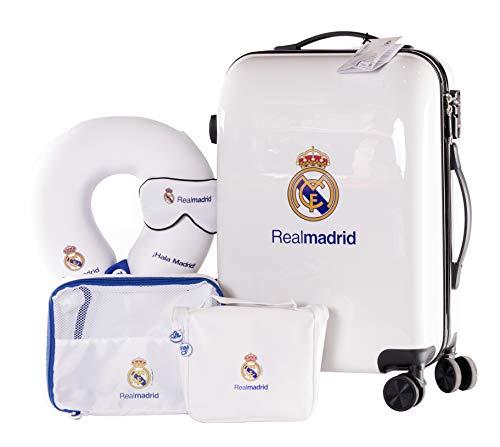 Real Madrid - Pack de Viaje Maleta y Accesorios - Producto Oficial del Equipo Temporada 19/20. Incluye Almohada Cervical, Organizador de Equipaje, Neceser, Antifaz y Etiqueta de Equipaje.