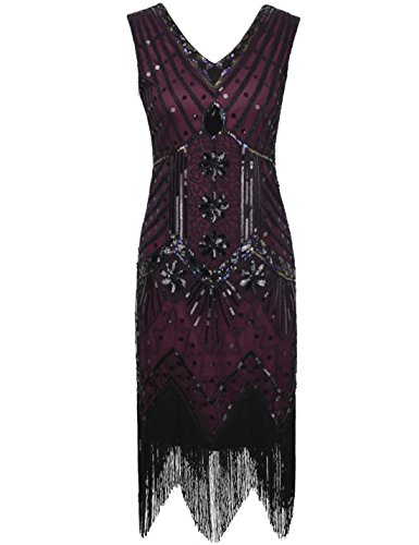 ahre mit V-Ausschnitt Sequin Art Deco Gatsby Inspiriert Flapper-Kleid L burgund (Gatsby-mode Frauen)