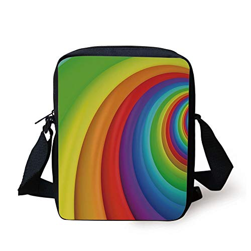 Rainbow,Rainbow Colored Half Circles Getting Bigger and Bigger Perspective Computer Graphic,Multicolor Print Kids Crossbody Messenger Bag Purse