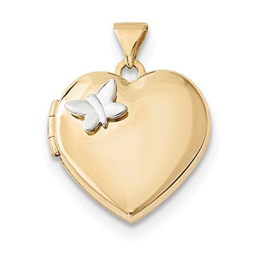 4 kt zweifarbig Gold 18 mm Herz mit Schmetterlingsmedaillon ()