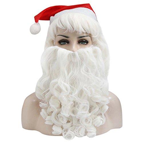 Kostüm Claus Mutter - DECORATION Noel Deluxe Perücke, Bart und Augenbrauen Weihnachtsmann (Santa Claus) Dekoratives Accessoire Weihnachten Zubehör Kostüm Cosplay Erwachsene, Beard + wig + hat set