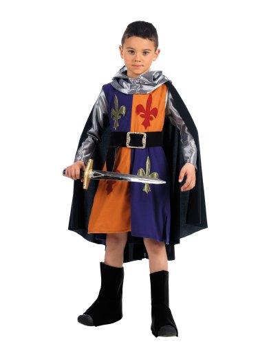Mascarada MI909 Gr.4 - medievale costume guerriero, formato 4, blu / arancio / argento