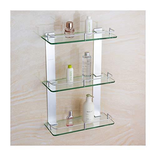Drei-tier-glas Badezimmer Regal (M-JJZX 3-Tier Badezimmer Regale, Dusche Caddy Bad Korb Lagerregal, Dickes Gehärtetes Glas Aluminium Wandmontage Badezimmer Regal Rack Küche Lagerregal (Size : 25cm))