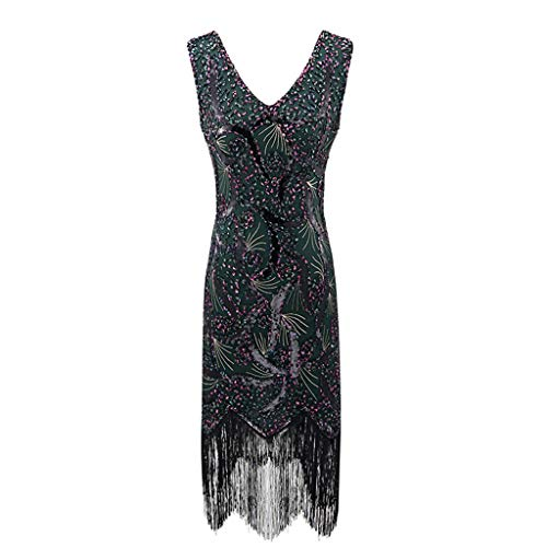 Lazzboy Damen Pailletten Kleid 1920er Jahre Inspiriert Perlen Lange Quaste Einsätze Retro Stil Flapper Kleider Voller Runder Party - Chinesisch Inspirierte Kostüm