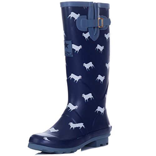 Adjustable Buckle Flat Festival Wellies Rain Boots Blue Sheep Sz 8