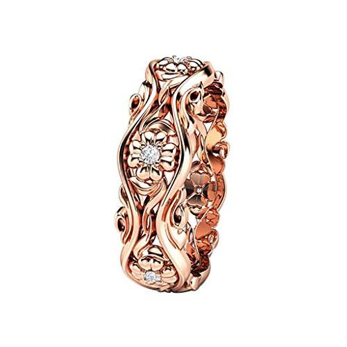 Floweworld Mode Ring Frauen Kreative Sunflower Chrysantheme Ring Rose Gold Überzogene Ring Diamant Ring Schmuck Geschenk Für Damen - Diamant-spitze-socken