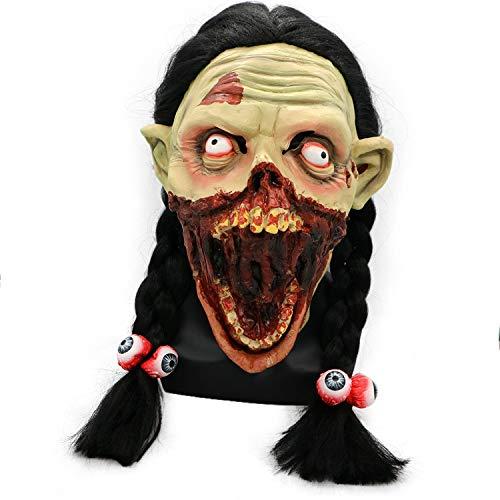 QHJ Halloween Kostüm Party Maske Gruselige Zombie Latex Maske mit Haar Cosplay Helm Halloween Kostüm Helloween Kostüm Party (C) (Wirklich Gruselige Halloween Kostüm)
