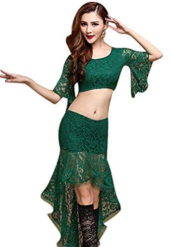 Bauchtanz Kostüm Tops Indischer Tanz Bauchtanz Rock Grün M (Wirbeln Tanz Kostüme)